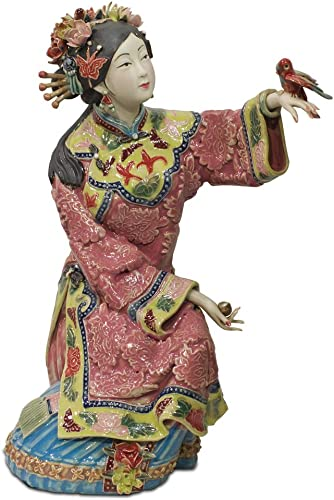 ChinaFurnitureOnline Chinese Porcelain Doll, Sitting Qing Maiden with Bird Pink and Blue