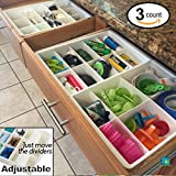 Kitchen Cabinet Organization Ideas Adjustable Drawer Dividers for Utility Drawer Kitchen Storage and Organization by Uncluttered Designs (3 Pack)