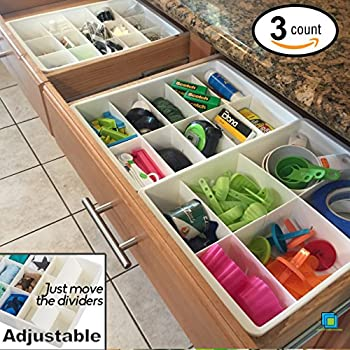 Adjustable Drawer Dividers For Utility Drawer Kitchen Storage And  Organization By Uncluttered Designs (3 Pack