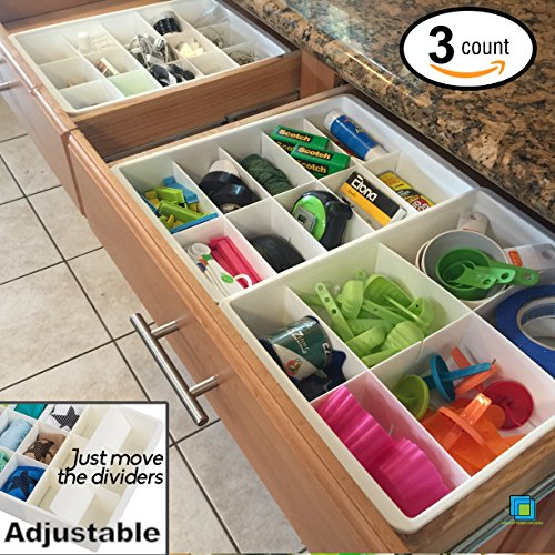Adjustable Drawer Dividers for Utility Drawer Kitchen Storage and Organization by Uncluttered Designs (3 Pack) (Where To Buy Gift Baskets)
