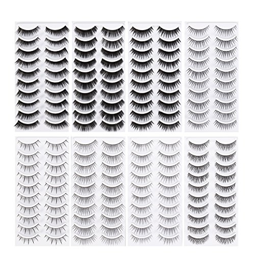 Frcolor 80 Pairs Natural Fake Eyelashes 10-Style Thick Long Eye Lashes for Women Lady Teenager Girls ()