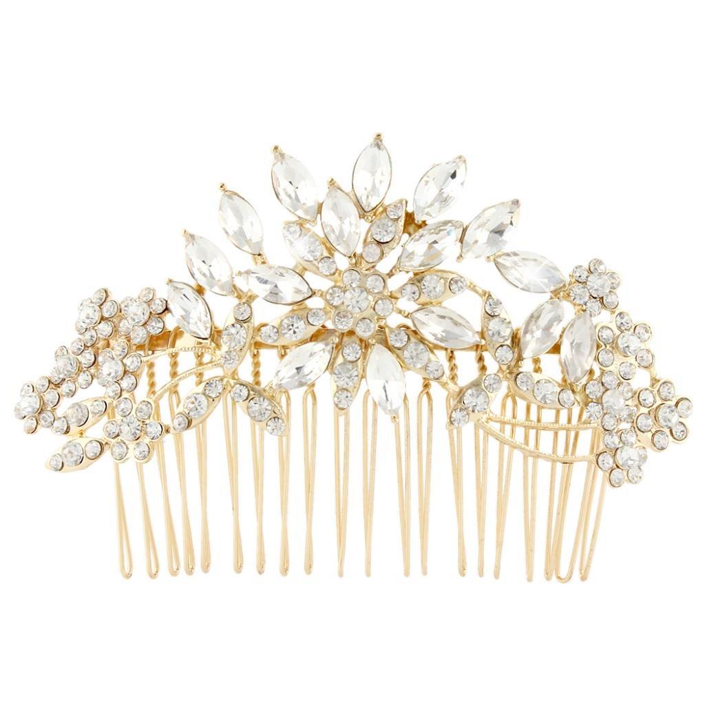 Ever Faith Bridal Flower Snowflake Hair Comb Clear Austrian Crystal Silver-Tone N01163-2