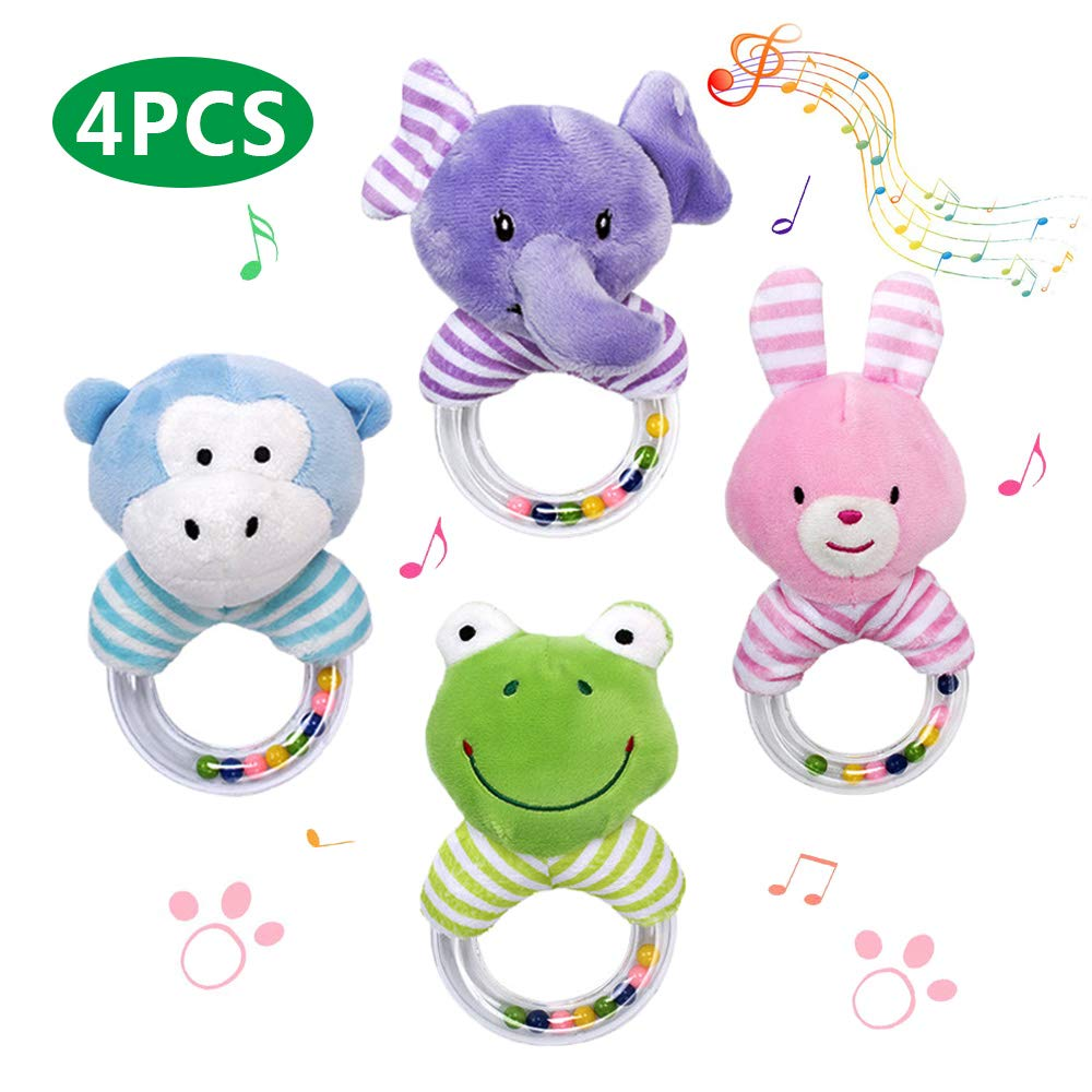 GRACEON Baby Animals Rattle Shaker - Developmental Toys for 3, 6, 9, 12 Months Newborn,Soft Plush Handheld Rattle Toys for Infant,4 PCS