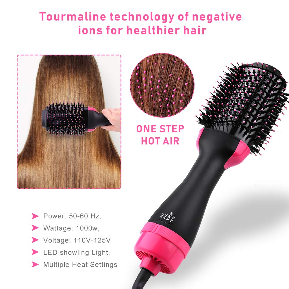 Vindila Hair Dryer Brush, 4-in-1 One Step Hot Hair Styler & Volumizer Feature Anti-Scald Ceramic Electric Blow Curler Negative Ion Straightener,Pink by Vindila (Image #2)