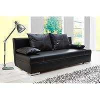 lifestyle4living Schlafsofa in Schwarz | Sofa mit Bettkasten aus Kunstleder | Couch inkl. 2 Rückenkissen und 2 Armlehnkissen