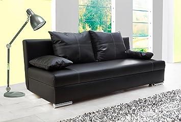 Lifestyle4living Schlafsofa In Schwarz Sofa Mit Bettkasten Aus Kunstleder Couch Inkl 2 Ruckenkissen Und 2 Armlehnkissen