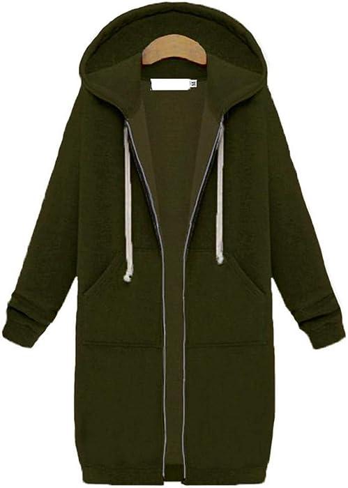 Carolyn Jones Womens Winter Jackets Zipper Outwear Long Sleeve Hooded Coat Plus Size Warm Zip-
