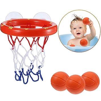 Baño Bola Juegos Cesta Aro, Mini Diversión Baloncesto Set con 3 ...