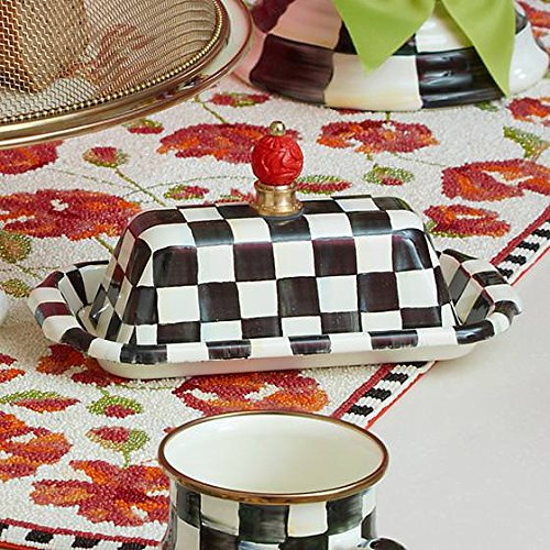 MacKenzie-Childs Butter Dish with Lid Stainless Steel Enamel Courtly Checks Container - Black and White Box - Rectangular - 5'' Wide, 9'' Long, 4'' Tall