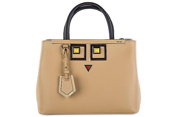 Fendi sac à main femme en cuir petite 2jours occhi marron  Amazon.fr ... 3b755039fdd
