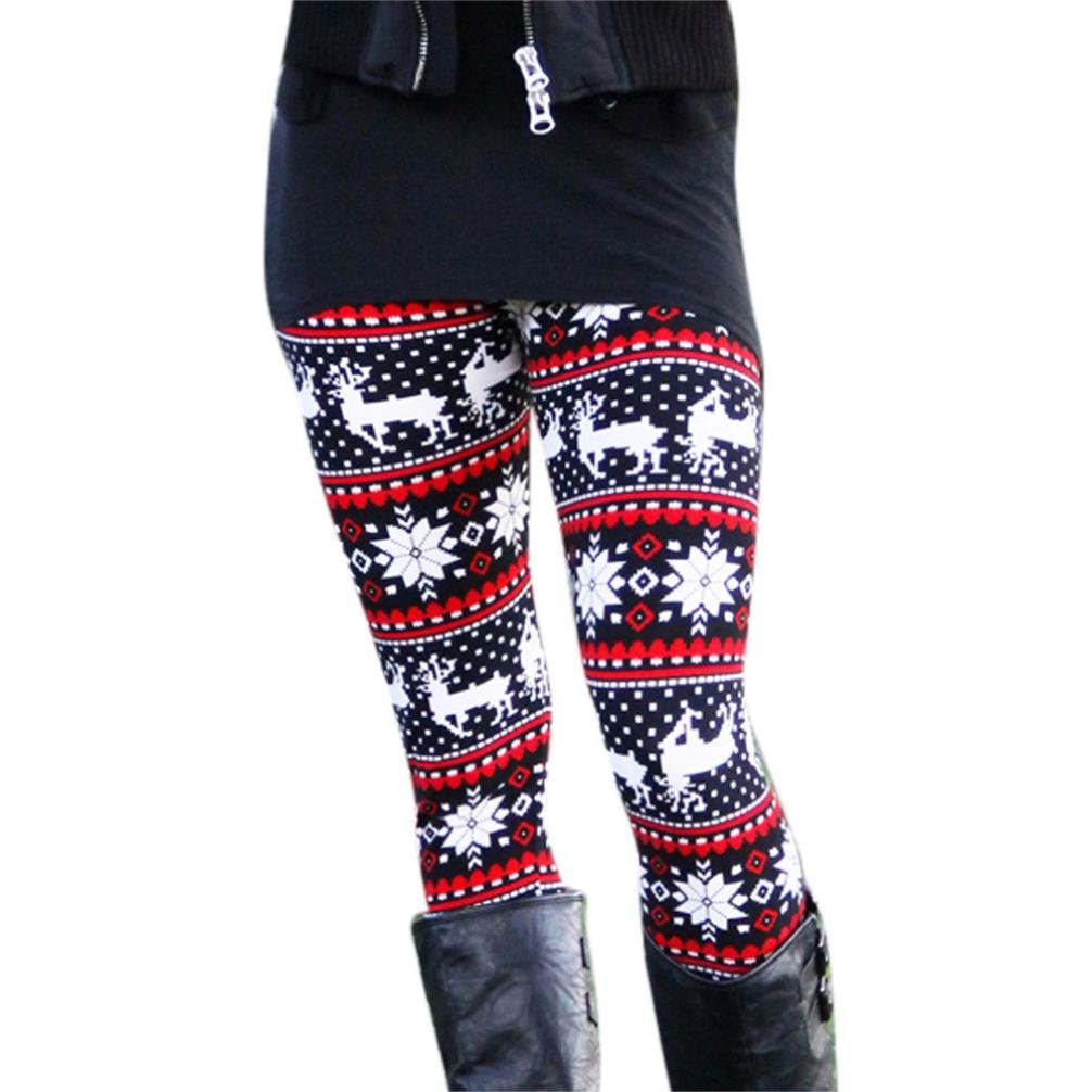Women Pants, ABC® Women Lady Christmas Elk Print Stretchy Jegging Pants Slim Skinny Leggings ABC-21