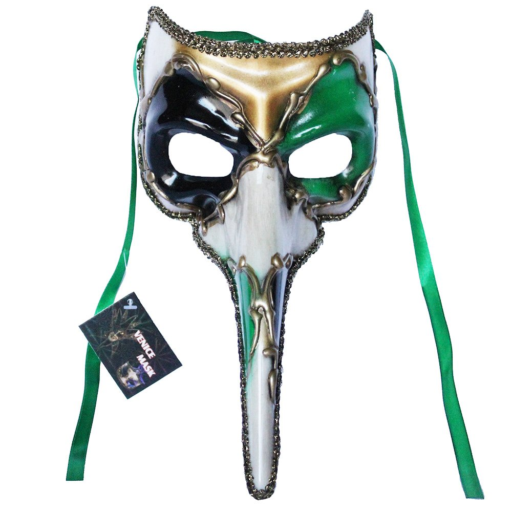 Venetian Long Nose Masquerade Mask Party Ball Prom Mardi Gras Halloween Costumes Wedding Wall Decoration (Green 11E4A)