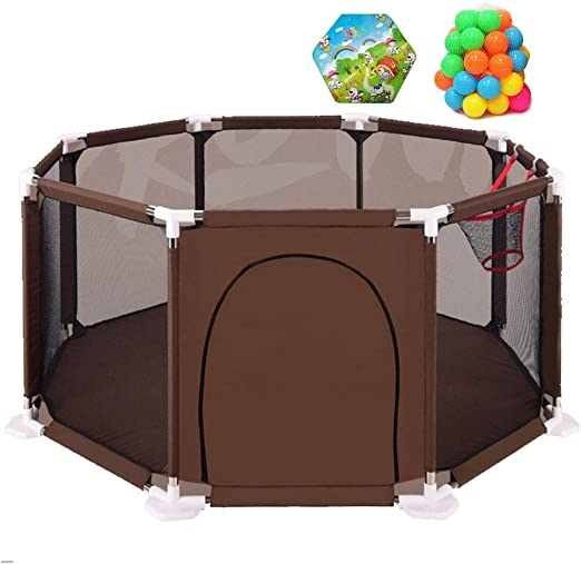 Zippered Safety Play Area Gate Baby Safe Play Yard Waterproof Baby Playpen Fence with Basketball Hoop and Mat