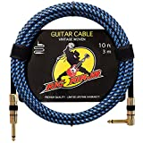 Rig Ninja Guitar Cable - Premium Musical Instruments Cable, Electric Guitar & Bass Guitar Cord - 10ft Recording Studio Quality Guitars & Bass Amp Cord, Heavy Duty Guitar Cords for Guitar Amps - Angle