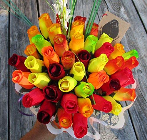 The Original Wooden Rose Fall Harvest Festival Thanksgiving Flower Bouquet Closed bud (3 Dozen) by The Original Wooden Rose (Image #2)