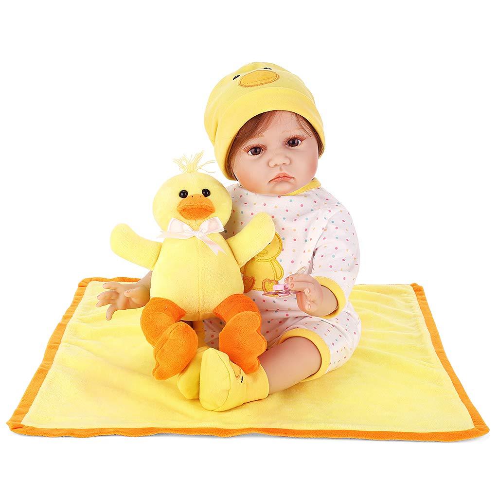 Promoción por tiempo limitado qiuxiaoaa Reality Babydoll de Silicona Mini Manta de Pato Amarillo Juguete Lindo Infancia temprana 55 cm Muñecas Renacidas
