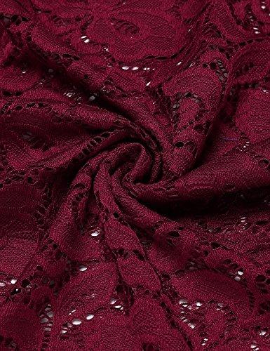 Floral de Bodas Vestidos Dress 2 Para Elegante Fiesta Vestido Mini Falda Cóctel Mujeres Slim Rojo Tkiames Fiesta Encaje px8EIxw