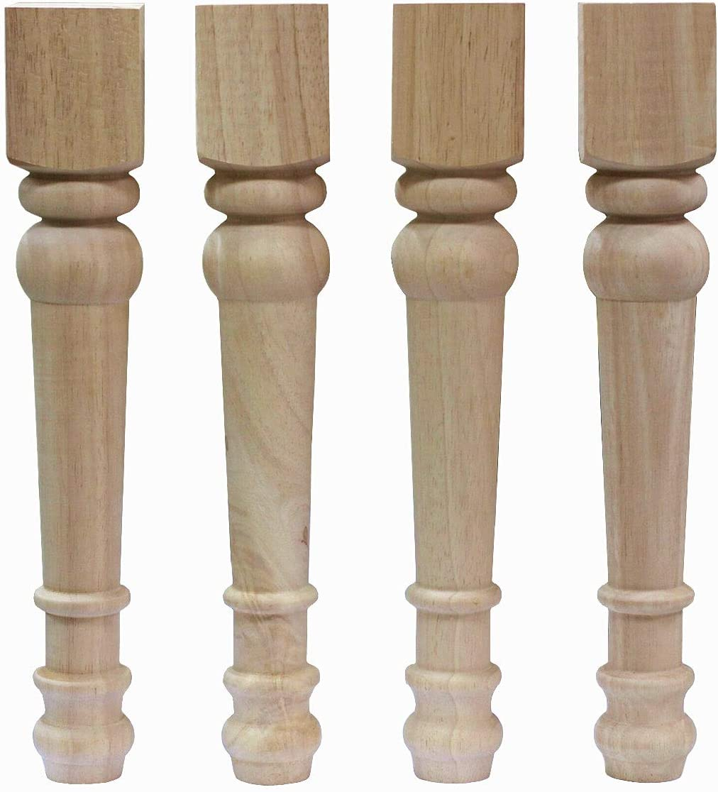 WEICHUAN Solid Unfinished Rubber Wood Furniture Legs Replacement Bench Legs Coffee Table Legs TV Bench Leg(Set of 4)
