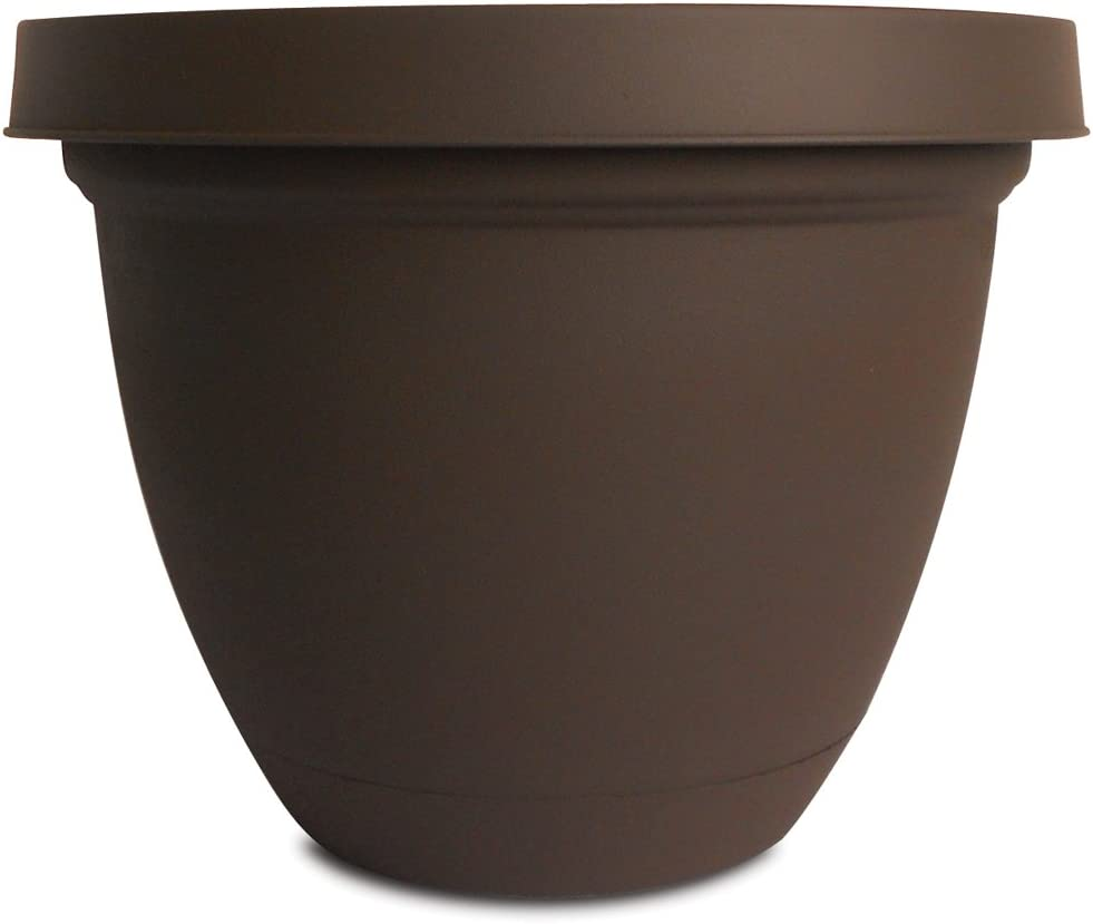 Akro-Mils Infinity Planter with Attached Saucer, 6-Inch, Chocolate