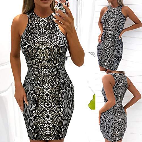 6a674cd34 ... YKARITIANNA Women's Ladies Sexy Serpentine Print Sleeveless Mini Dress  Summer Dress ...
