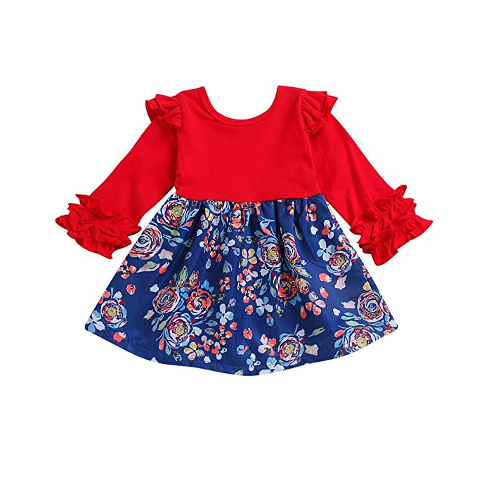 Beikoard_Ropa de Niño y Niña,Niña Vestido Manga Larga Falda Estampada de Flores Temperamento de la Moda,Primavera Otoño El Verano
