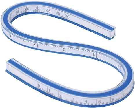 Jingshengxin Flexible Curve Ruler Spiral Drafting Drawing Measure Tool Curve measuring tape Flexible Soft Plastic Tape Measure Ruler 30cm