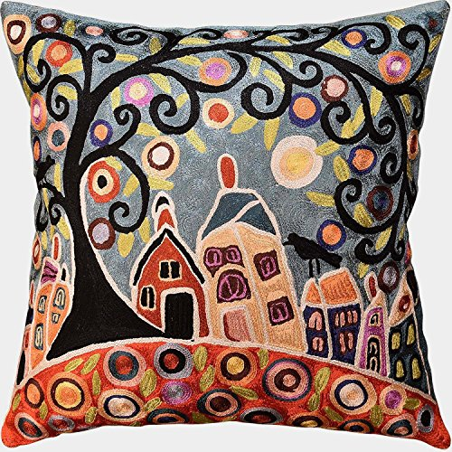 "Kashmir Designs House Barn Birds & Tree Karla Gerard Pillow Cover Handmade Art Silk 18""x18"""