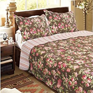 Summer flowers brown 100 cotton 3pc classic for Quilted kitchen set