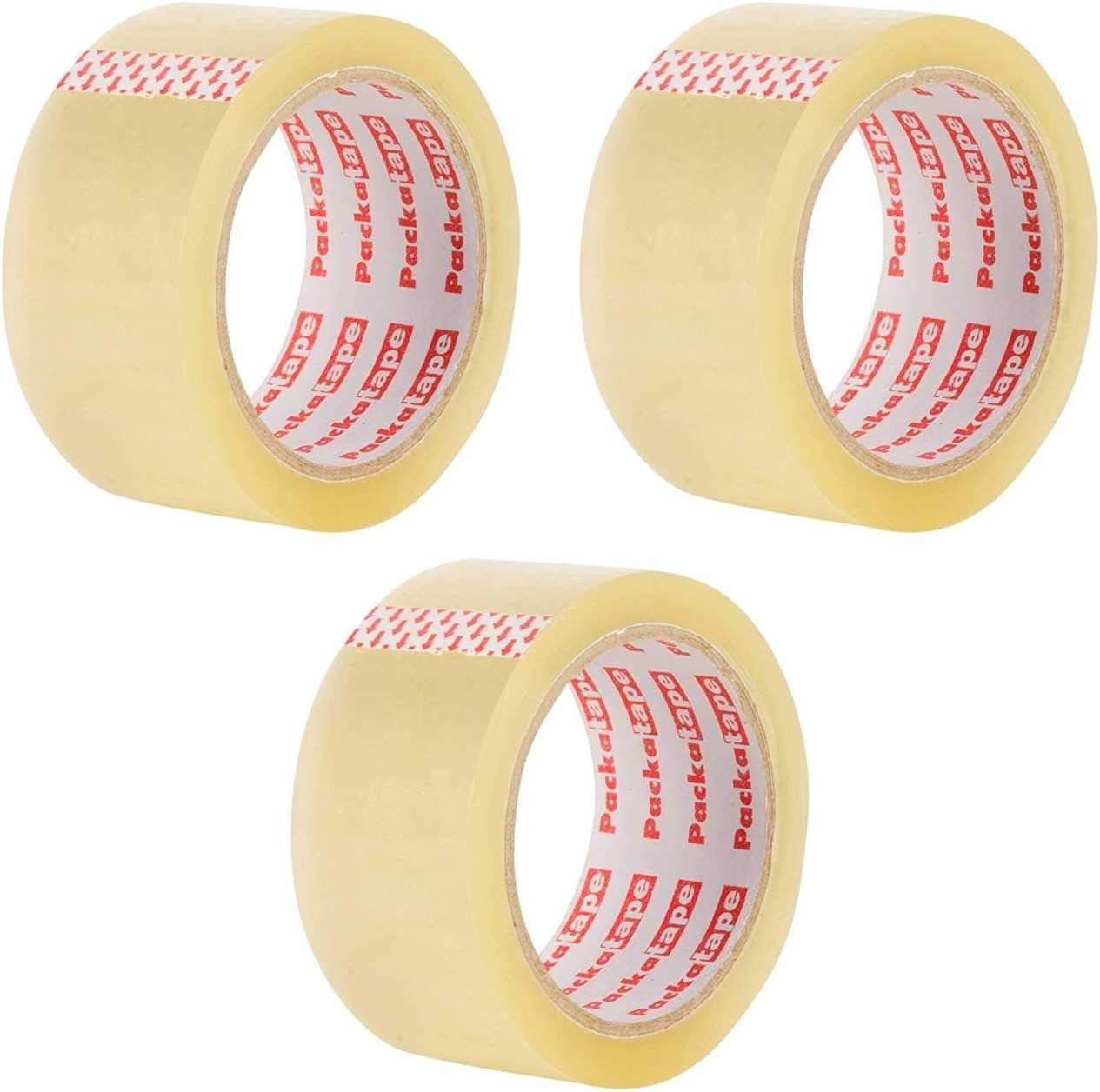 3 Rollos Cinta Embalar Adhesiva 48MMx 66M para Cajas y Paquetes Ideal para Envíos y Mudanzas – Precinto Embalar Extrafuerte y Resistente – Color Transparente