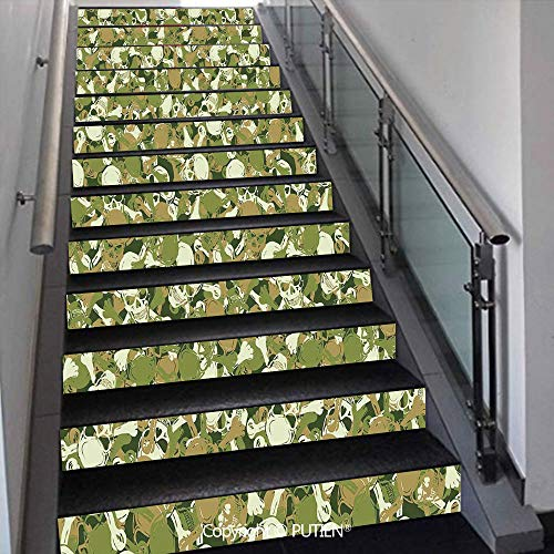- PUTIEN Multicolor Stair Stickers Wall Stickers,13 PCS Self-Adhesive [ Camo,Sketchy Skulls and Crossbones Wa