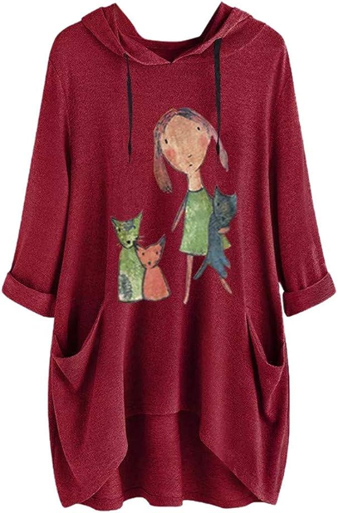 Women T-Shirt Dress Plus Size,Casual Cotton Loose Print Long Sleeves Side Pocket Hooded Irregular Top Blouse Shirts