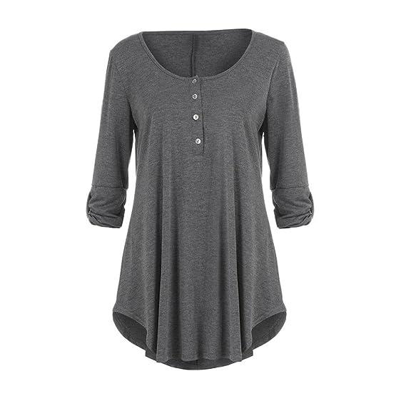 K-youth® Top Manga Larga Mujer Color Sólido Oficina Casual Blusa Redonda Camiseta: Amazon.es: Ropa y accesorios