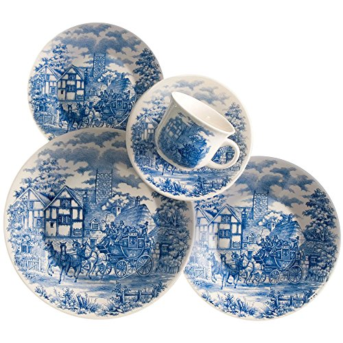 Oxford Bone China - Oxford 20 Piece English Scenery Collection Biona Dinnerware Set