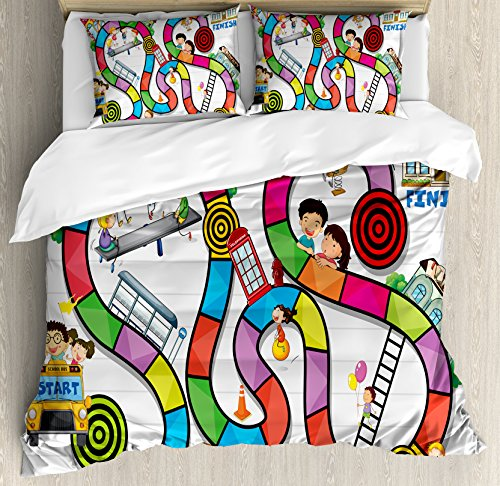 Board Game Duvet Cover Set Queen Size by Ambesonne, Game on Notebook Paper Kids and Building School Route Fun Challenge Enjoyment, Decorative 3 Piece Bedding Set with 2 Pillow Shams, Multicolor (Notebook Paper Duvet)