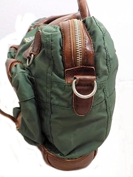 504a883f2a2 Polo Ralph Lauren Yosemite Nylon Messenger Commuter Bag Khaki Green Leather  trim PR1 (45 cms wide 30 cms high)  Amazon.co.uk  Shoes   Bags
