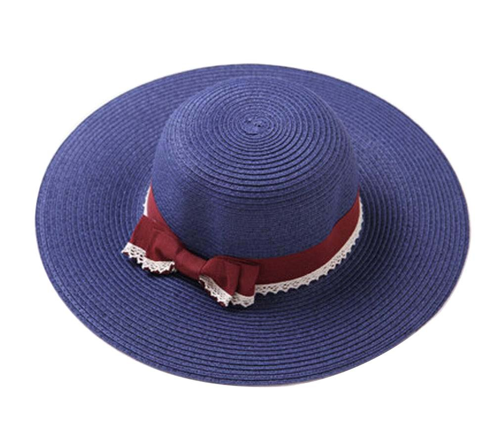 Alien Storehouse Fashion Lady Summer Straw Hat Beach Hat Wide Brim Hat for Travel Navy