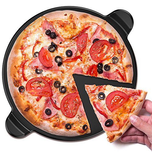 Vremi Ceramic Pizza Stone - 13 Inch Round Nonstick Baking Stone for Oven - Round Pizza Grill with Built-in Handles...