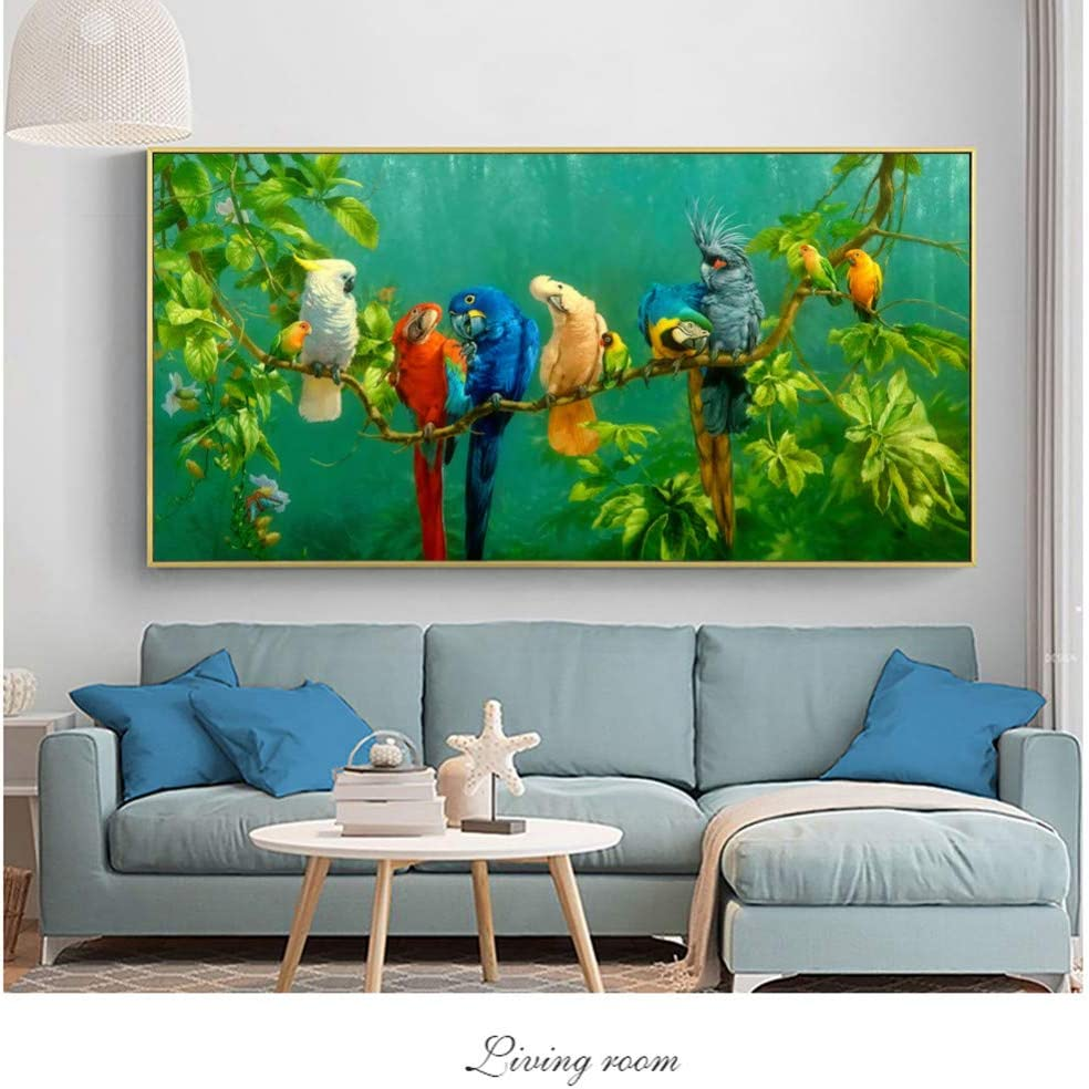 Art Decoration Painting Pictures Colorful Parrots Animal Painting Canvas Painting Wall Art Prints for Living Room Modern Decorative Prints Posters-16x24inch