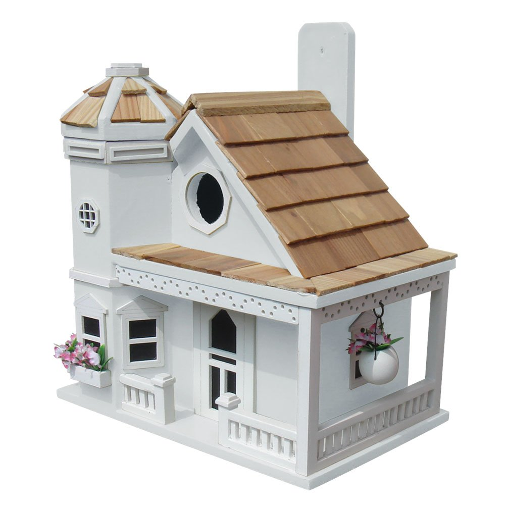 Home Bazaar Flower Pot Cottage Birdhouse, White