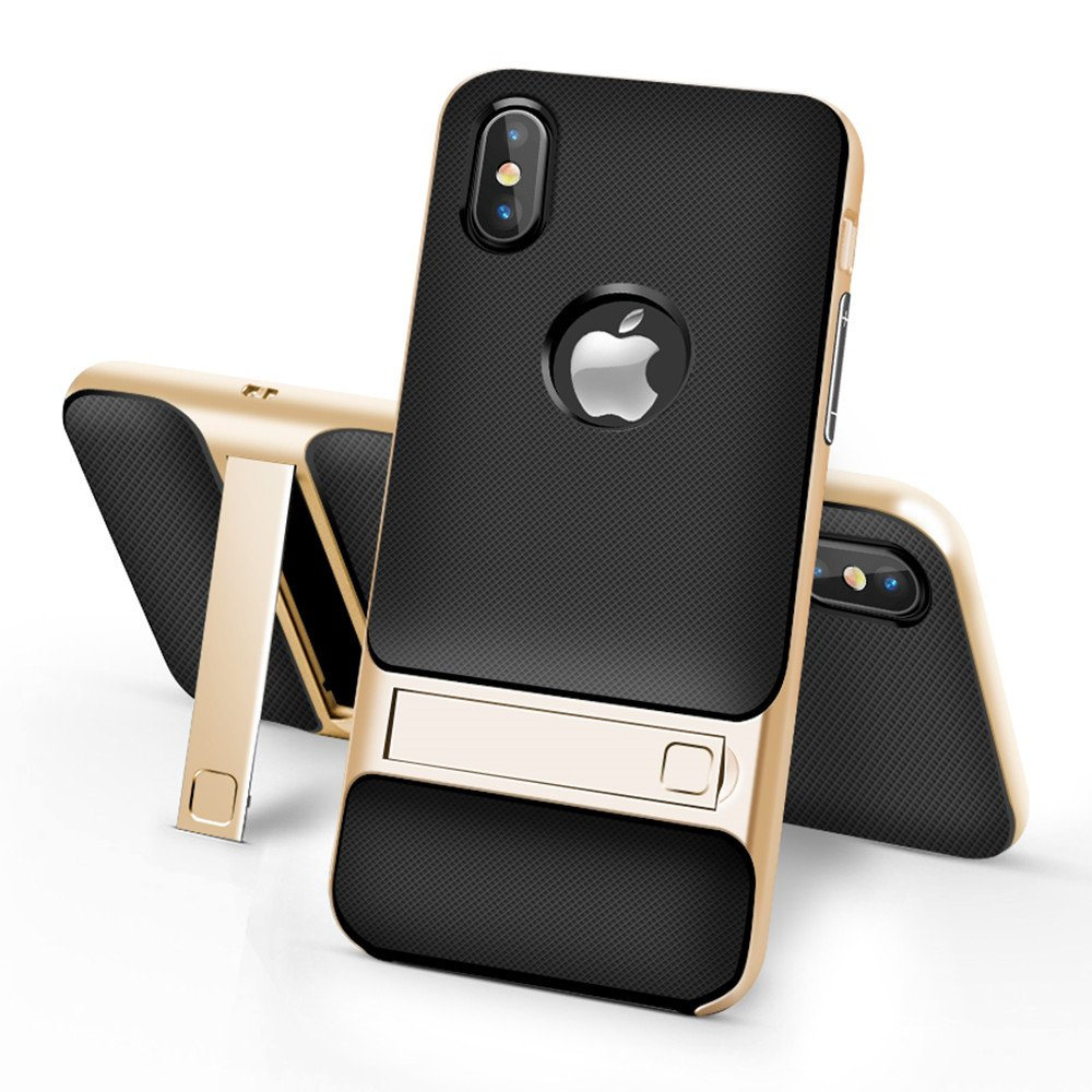 iPhone X Case, IEASSAU iPhone X Kickstand Style Shell Cover with Flexible Inner Protection and Reinforced Hard Bumper Frame for iPhone X (Gold)