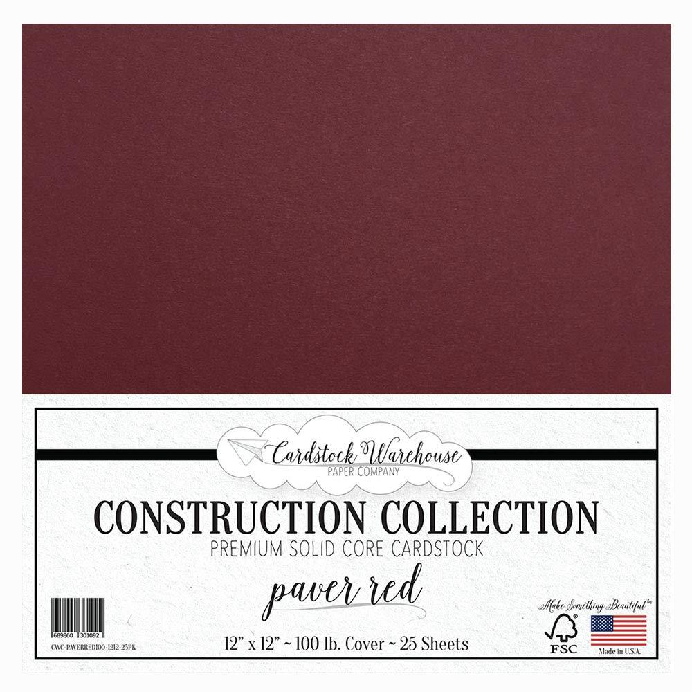Paver RED/ワイン/バーガンディ カードストックペーパー - 12 x 12インチ プレミアム 100ポンド Cardstock Warehouse 25枚セット B01M0M82VM