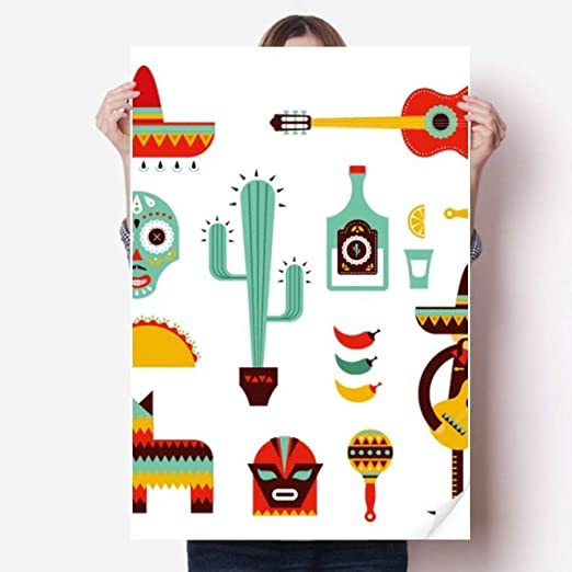 DIYthinker 80X55Cm Pared Sombrero Tequila Guitarra Chile ...