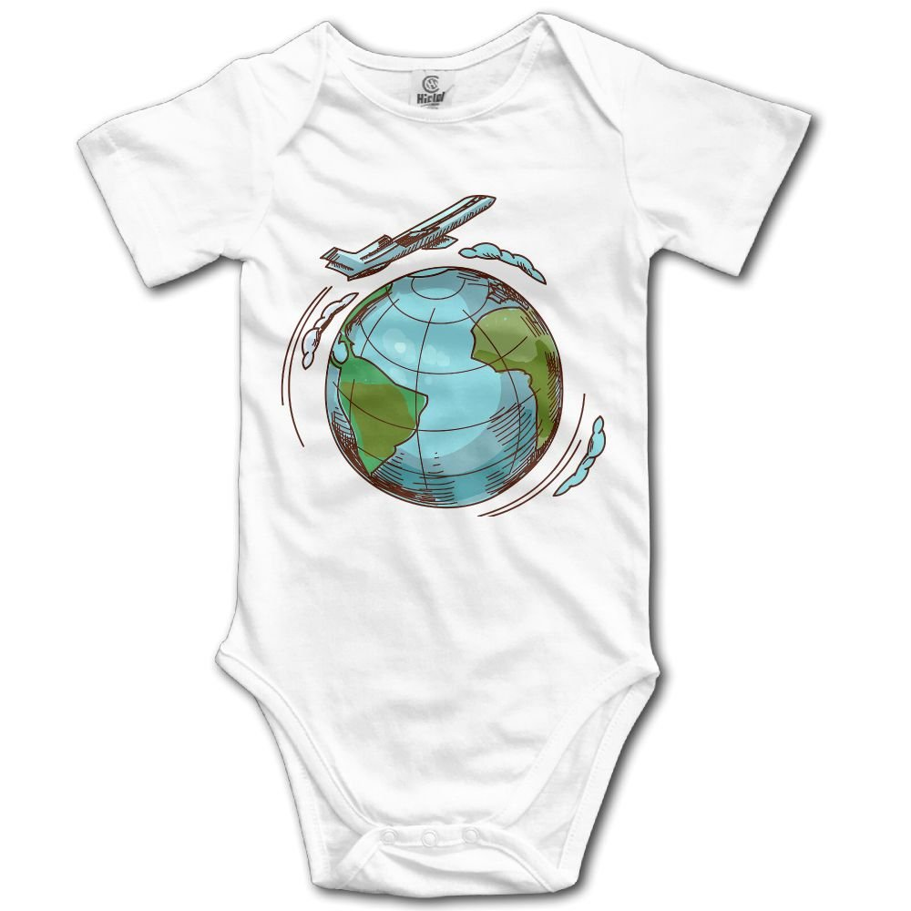 Toddler Climbing Bodysuit Airplane Travel Around Earth Infant Climbing Short-Sleeve Onesie Jumpsuit 6 M