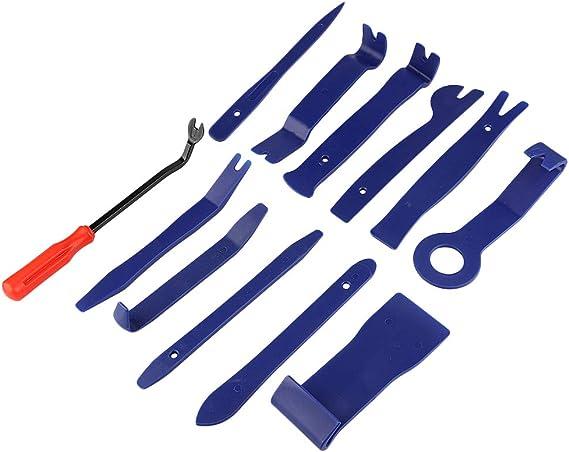 Kit di 12 Attrezzi per la rimozione di Rivestimenti in plastica per Auto Rivestimenti e Portiere tappeti ZIJIA