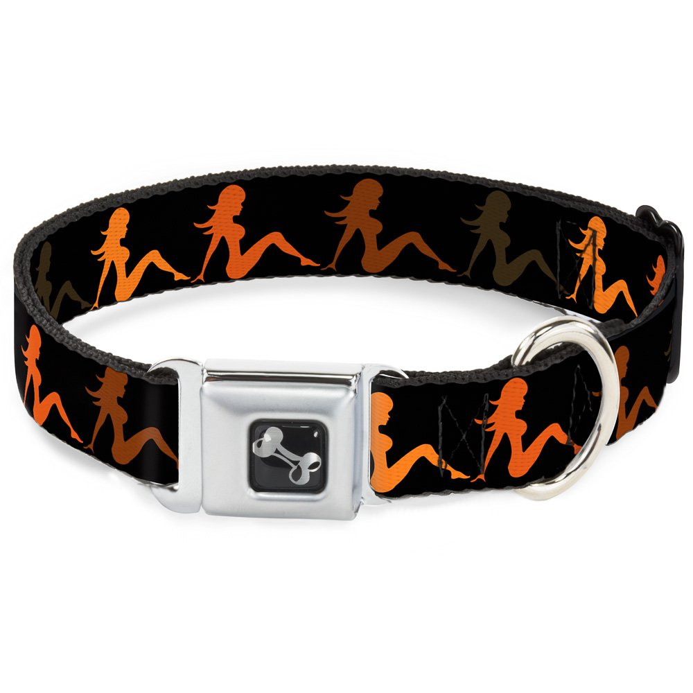 Buckle-Down Seatbelt Buckle Dog Collar Mud Flap Girl Repeat Black orange Fade 1.5  Wide Fits 16-23  Neck Medium