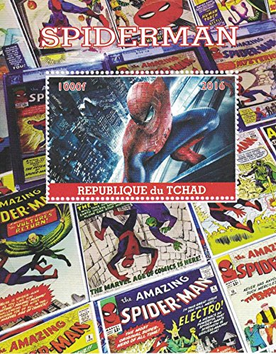 Stamps for collectors - perforfated stamp sheet featuring The Amazing Spiderman / Marvel / Comic Books / (Super Heroes Stamp Sheet)