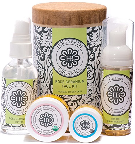 HollyBeth Organics - Rose Geranium Face Kit (Normal to Dry Skin)