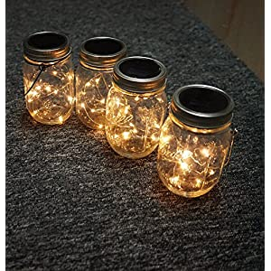 Solar Mason Jar Hanging Lights,4 Pack 20 LEDs (Mason Jar & Hanger Included) Warm White Waterproof Fairy Firefly Led String Mason Jar Lights,Best for Wedding Garden Patio Outdoor Solar Lanterns