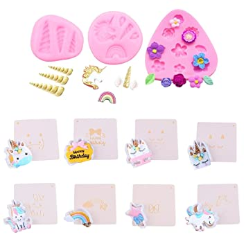 Amazon.com: Mini Unicorn Candy Mold, Food Grade Silicone Unicorn Mold Horn Ears Flower Cupcake Toppers Fondant Cake Cookies Jelly Chocolate Mold Set: ...