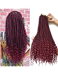 faux locs with curly ends 6Packs/Lot 20inch Crochet Braids Havana Mambo Faux Locs Dreadlocks Braids Synthetic hair extensions goddess locks